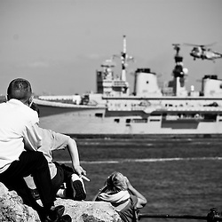 Some of the people watching the Ark Royal leaving from Egremont. All.ages and walks of life came out to see her leave.