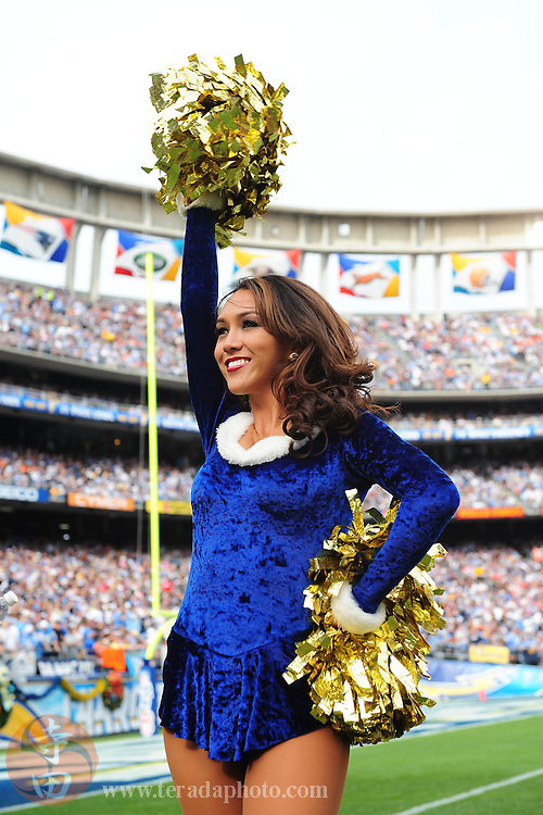 December 20, 2009; San Diego, CA, USA; San Diego Charger Girls cheerleader Andrea performs during the first quarter against the Cincinnati Bengals at Qualcomm Stadium. The Chargers defeated the Bengals 27-24. Mandatory Credit: Kyle Terada-Terada Photo