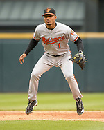 CHICAGO - MAY 01:  Richie Martin #1 of the Baltimore Orioles fields against the Chicago White Sox on May 1, 2019 at Guaranteed Rate Field in Chicago, Illinois.  (Photo by Ron Vesely)  Subject:   Richie Martin