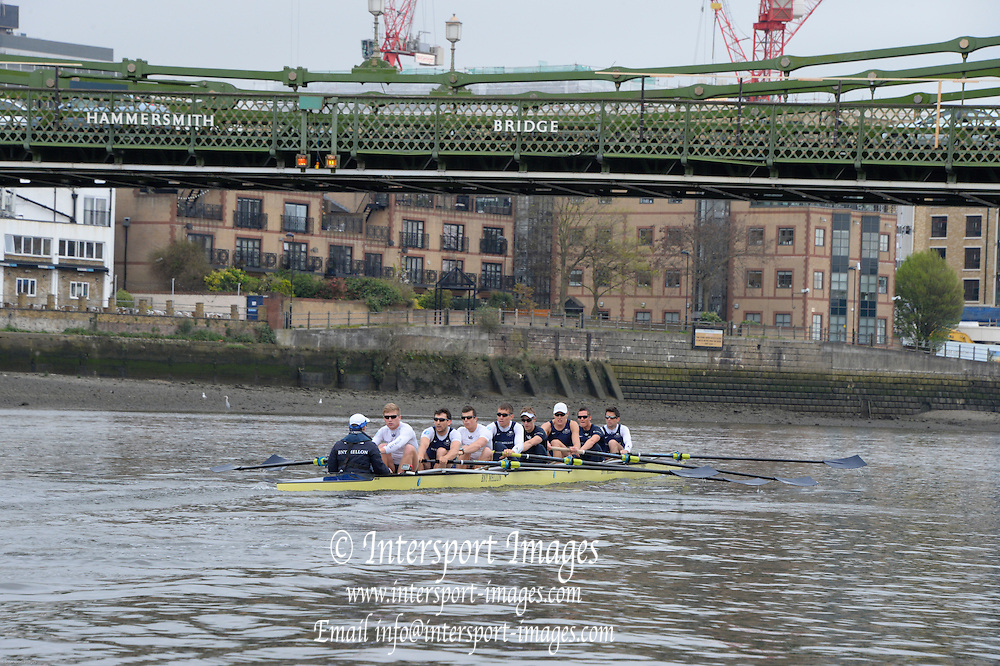 London, United Kingdom.  Friday Morning, Oxford Training session  2014, Varsity, Tideway Week, annual training week, both crews based at Putney, Championship Course,  River Thames;   10:12:12 - Friday  - 04/04/2014  [Mandatory Credit; Peter Spurrier/Intersport Images].<br /> <br /> OUBC. Bow. Storm URU, 2. Tom WATSON, 3. Karl HUDSPITH, 4. Thomas SWARTZ, 5. Malcolm HOWARD, 6. Mike DI SANTO, 7. Sam O'CONNOR, Stroke. Constantine LOULOUDIS and Cox Laurence HARVEY.