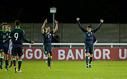 BANGOR, WALES - Saturday, November 12, 2016: Wales' Cameron Coxe and Regan Poole celebrate their side's 3-2 victory over England during the UEFA European Under-19 Championship Qualifying Round Group 6 match at the Nantporth Stadium. (Pic by Gavin Trafford/Propaganda)