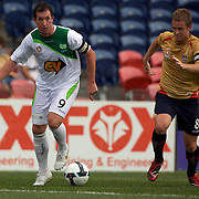 Robbie Fowler (left) amd Matthew Thompson in action during the Newcastle Jets V North Queensland Fury  A-League match at Energy Australia Stadium, Newcastle, Australia, 20 December 2009. Photo Tim Clayton