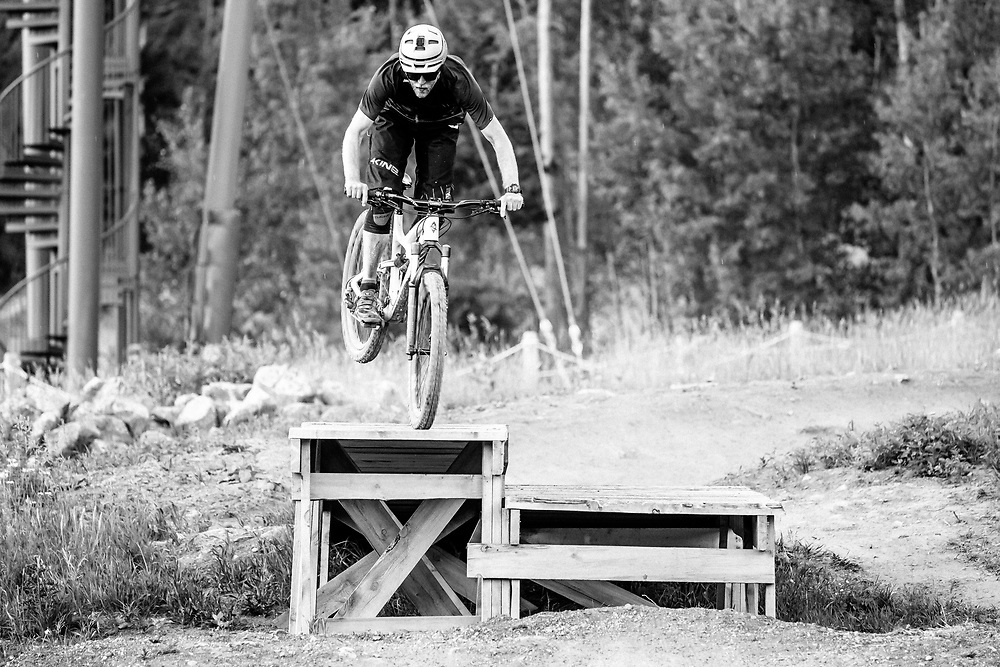Andrew Whiteford front wheel taps the ramp before heading over.