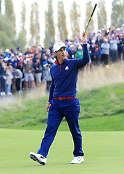 Team Europe's Thorbjorn Olesen celebrates going 1up on the 8th during the Fourballs match on day one of the Ryder Cup at Le Golf National, Saint-Quentin-en-Yvelines, Paris.