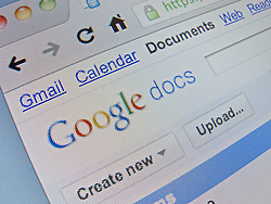 Detail of online Google docs website homepage screen shot