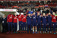England's Aidy Boothroyd and his staff sing the national anthem during the Under 21 International Friendly match at the St Mary's Stadium, Southampton. Picture date November 10th, 2016 Pic David Klein/Sportimage