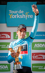 Greg van Avermaet celebrates winning the 2018 Tour de Yorkshire title during day four of the Tour de Yorkshire from Halifax to Leeds.
