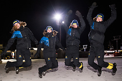 February 23, 2018 - Pyeongchang, SOUTH KOREA - 180223 Mona Brorsson, Anna Magnusson, Linn Persson and Hanna …berg of Sweden celebrates after they won silver in the WomenÃ•s Biathlon Relay during day thirteen of the 2018 Winter Olympics on February 23, 2018 in Pyeongchang..Photo: Petter Arvidson / BILDBYRN / kod PA / 91995 (Credit Image: © Petter Arvidson/Bildbyran via ZUMA Press)