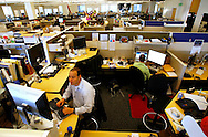 Matthew Kovinsky and Peter Koomen work in their cubicle at the Googleplex campus in Mountain View, Calif. on May 15, 2007. (Photo by Jakub Mosur/For Boston Globe)
