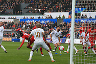 Christian Benteke (9) of Liverpool scores his teams 1st goal. Barclays Premier league match, Swansea city v Liverpool  at the Liberty Stadium in Swansea, South Wales on Sunday 1st May 2016.<br /> pic by  Andrew Orchard, Andrew Orchard sports photography.