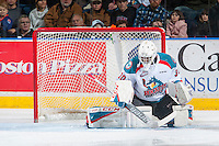 KELOWNA, CANADA - DECEMBER 27: Michael Herringer #30 of the Kelowna Rockets defends the net against the Kamloops Blazers on December 27, 2016 at Prospera Place in Kelowna, British Columbia, Canada.  (Photo by Marissa Baecker/Shoot the Breeze)  *** Local Caption ***