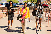 21 MAY 2012 - PHOENIX, AZ:     CONGRESSWOMAN SHEILA JACKSON LEE (D- TX 18) (center) and her staff walk into the US House of Representatives Committee on Homeland Security, Subcommittee on Border and Maritime Security meeting Monday in Phoenix to talk about ways to improve information-sharing among government law enforcement agencies to thwart the flow of illicit drugs from Mexico into Arizona. Republican Congressman Paul Gosar and Ben Quayle, both from Arizona, and Democratic Congresswoman Sheila Jackson Lee, from Texas, attended the meeting.             PHOTO BY JACK KURTZ