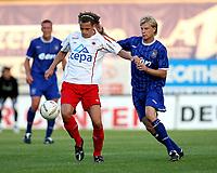 Photo: Maarten Straetemans.<br /> Royal Antwerp v Ipswich Town. Pre Season Friendly. 31/07/2007.<br /> Dan Harding (right) of Ipswich with Verbiest
