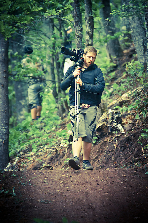 Filmmaker Aaron LaRocque on the Flying Squirrel trail in Copper Harbor Michigan while making a film about the area.