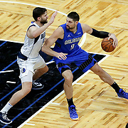 ORLANDO, FL - MARCH 01: Maxi Kleber #42 of the Dallas Mavericks defends against Nikola Vucevic #9 of the Orlando Magic during the first half at Amway Center on March 1, 2021 in Orlando, Florida. NOTE TO USER: User expressly acknowledges and agrees that, by downloading and or using this photograph, User is consenting to the terms and conditions of the Getty Images License Agreement. (Photo by Alex Menendez/Getty Images)*** Local Caption *** Maxi Kleber; Nikola Vucevic