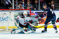 KELOWNA, BC - MARCH 7: Brett Davis #22 of the Lethbridge Hurricanes looks to tap the puck in the net of Roman Basran #30 of the Kelowna Rockets at Prospera Place on March 7, 2020 in Kelowna, Canada. (Photo by Marissa Baecker/Shoot the Breeze)