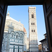 FLORENCE, ITALY - OCTOBER 30: <br /> Florence's Cathedral, Basilica di Santa Maria del Fiore, known as Duomo in Florence, Italy. The Duomo is the main church of the city of Florence. Construction was started in 1296 in the Gothic style with the structure completed in 1436. The famous dome was designed by Arnolfo di Cambio and engineered by Filippo Brunelleschi. Florence, Italy, 30th October 2017. Photo by Tim Clayton/Corbis via Getty Images)