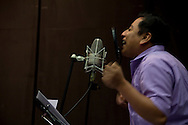 """During the recording of """"Xolo"""" the book-disc of poetry and music. Mardonio Carballo is a mexican artist, journalist and cultural promoter. His work, rooted in an indigenist spirit without extremism and passing through the Nahuatl and Spanish languages, has been an important tool in order to bring to the public's eye the situation of Mexico's native peoples, their languages and culture."""