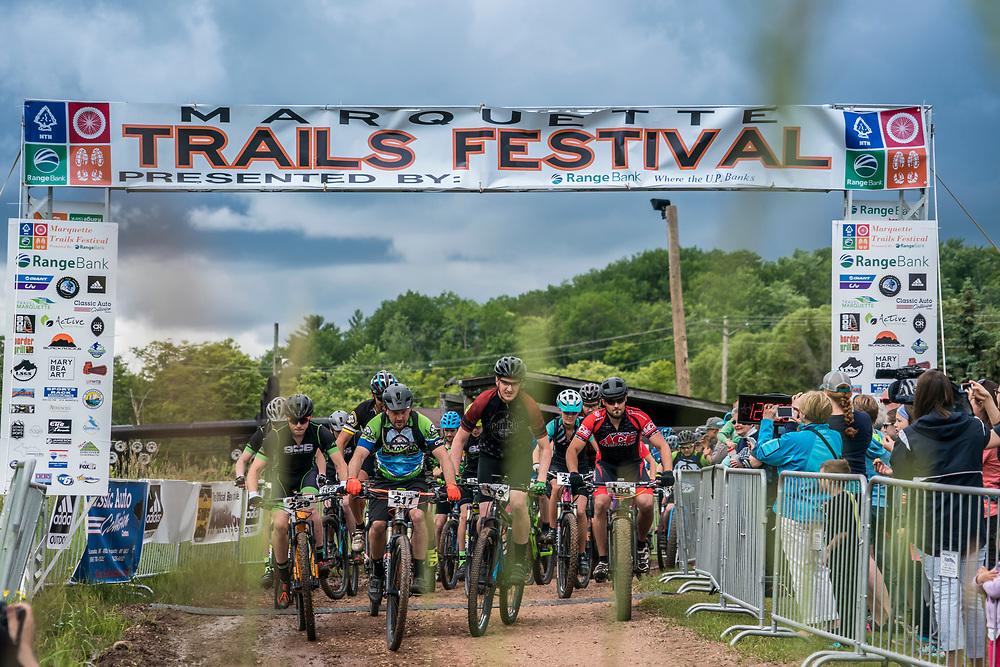The start of the cross country race during Marquette Trails Fest in Marquette, Michigan.