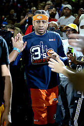 July 2, 2017 - Charlotte, North Carolina, United States - Allen Iverson (3) of 3's Company is introduced in the game against Ghost Ballers during week two of the BIG3 three on three basketball league at the Spectrum Center. (Credit Image: © Debby Wong via ZUMA Wire)