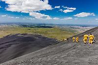 Granada  , Nicaragua - Febuary 26 , 2018 : People tourists surf boarding the  Cerro Negro Volcano