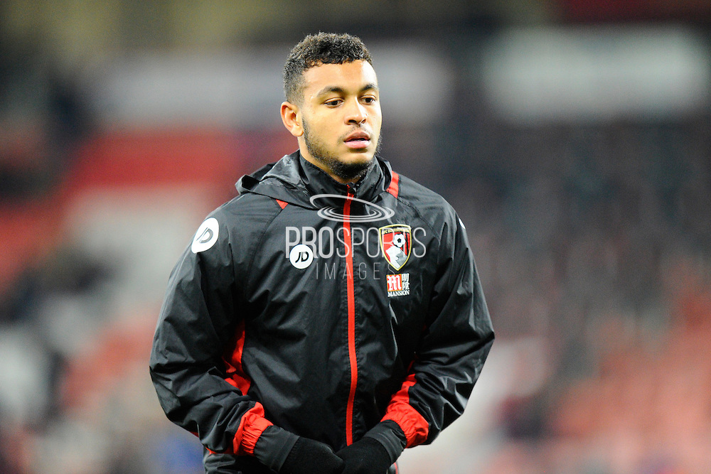 AFC Bournemouth forward Joshua King warming up before the Premier League match between Bournemouth and Arsenal at the Vitality Stadium, Bournemouth, England on 3 January 2017. Photo by Graham Hunt.