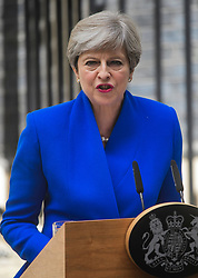 © Licensed to London News Pictures. 09/06/2017. London, UK. British prime minister THERESA MAY speaking outside 10 Downing Street in London, following a meeting with Queen Elizabeth II, in which she asked to form a new government. The Conservative Party made substantial losses in an election that they were expected to win comfortably. Photo credit: Ben Cawthra/LNP
