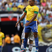 Juan, Brazil, wins a header during the Brazil V Argentina International Football Friendly match at MetLife Stadium, East Rutherford, New Jersey, USA. 9th June 2012. Photo Tim Clayton