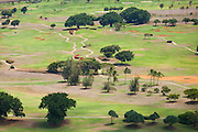 Aerial view of a golf course in Lihue, Kauai, Hawaii.