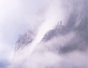 Shrouded cliffs on Glacier Point, Yosemite National Park, California