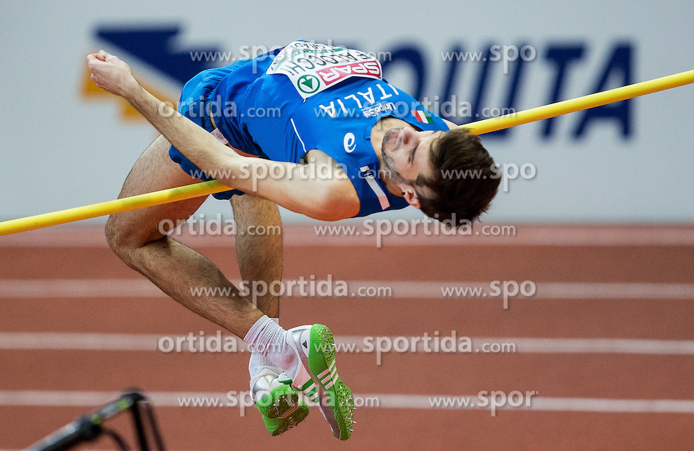 Christian Falocchi of Italy competes in the High Jump Men Qualification on day two of the 2017 European Athletics Indoor Championships at the Kombank Arena on March 4, 2017 in Belgrade, Serbia. Photo by Vid Ponikvar / Sportida