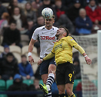 Preston North End's Patrick Bauer jumps with Millwall's Tom Bradshaw <br /> <br /> Photographer Mick Walker/CameraSport<br /> <br /> The EFL Sky Bet Championship - Preston North End v Millwall - Saturday 15th February 2020 - Deepdale Stadium - Preston<br /> <br /> World Copyright © 2020 CameraSport. All rights reserved. 43 Linden Ave. Countesthorpe. Leicester. England. LE8 5PG - Tel: +44 (0) 116 277 4147 - admin@camerasport.com - www.camerasport.com