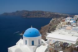 Europe, Mediterranean, Greece, Santorini, Oia and Aegean Sea