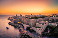Aerial view of historical city of Valletta during the sunset, Malta.