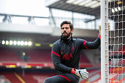 LIVERPOOL, ENGLAND - Sunday, March 7, 2021: Liverpool's goalkeeper Alisson Becker during the pre-match warm-up before the FA Premier League match between Liverpool FC and Fulham FC at Anfield. Fulham won 1-0 extending Liverpool's run to six consecutive home defeats. (Pic by David Rawcliffe/Propaganda)