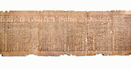 Ancient Egyptian Book of the Dead papyrus - Spell 51 for not walking upside down in gods domain, Iufankh's Book of the Dead, Ptolomaic period (332-30BC).Turin Egyptian Museum. White Background<br /> <br /> The translation of  Iuefankh's Book of the Dead papyrus by Richard Lepsius marked a truning point in the studies of ancient Egyptian funereal studies. .<br /> <br /> If you prefer to buy from our ALAMY PHOTO LIBRARY  Collection visit : https://www.alamy.com/portfolio/paul-williams-funkystock/ancient-egyptian-art-artefacts.html  . Type -   Turin   - into the LOWER SEARCH WITHIN GALLERY box. Refine search by adding background colour, subject etc<br /> <br /> Visit our ANCIENT WORLD PHOTO COLLECTIONS for more photos to download or buy as wall art prints https://funkystock.photoshelter.com/gallery-collection/Ancient-World-Art-Antiquities-Historic-Sites-Pictures-Images-of/C00006u26yqSkDOM