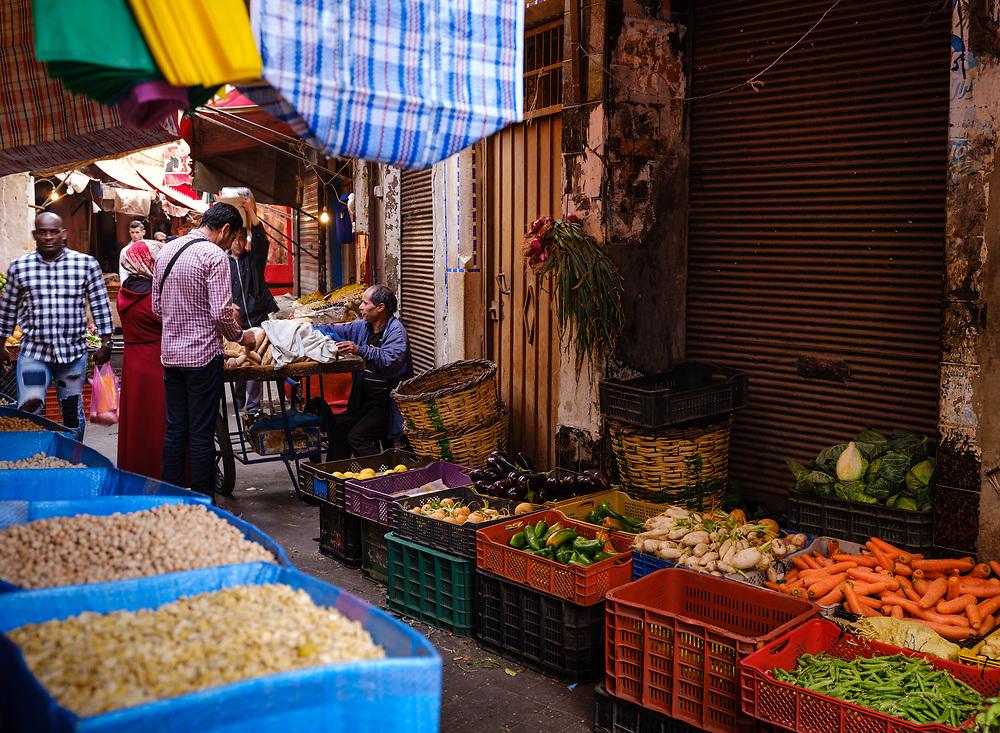 CASABLANCA, MOROCCO - CIRCA APRIL 2017: Street of the Medina and vegetable vendors in  Casablanca