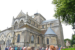 Romset Abbey at the wedding of the Hon.Alexandra Knatchbull to Thomas Hooper held at Romsey Abbey, Romsey, Hampshire on 25th June 2016