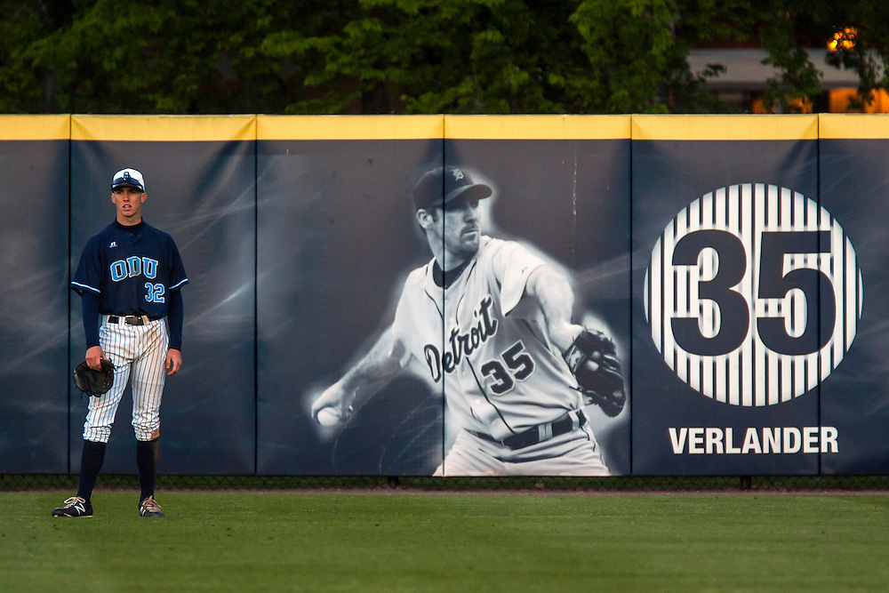 May 3, 2013; Norfolk, VA; ODU Monarchs right fielder Ben Verlander (32) looks on during the game against the George Mason Patriots at the Bud Metheny Baseball Complex . Mandatory Credit: Peter Casey-USA TODAY Sports