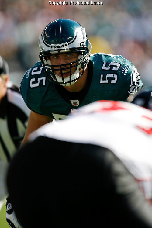26 Oct 2008: Philadelphia Eagles linebacker Stewart Bradley #55 during the game against the Atlanta Falcons on October 26th, 2008. The Eagles beat the Falcons 27-14 at Lincoln Financial Field in Philadelphia, Pennsylvania.