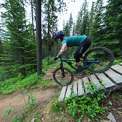 Erica riding on Race of Spades at Moose Mountain in Alberta, Canada