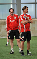 LIVERPOOL, ENGLAND - Tuesday, May 12, 2009: Ex-Liverpool players Gary Gillespie and Gary Ablett during a training session at Melwood as the players prepare for the Hillsborough Memorial Game in aid of the Marina Dalglish Appeal which will be staged at Anfield on May 14. (Photo by Dave Kendall/Propaganda)
