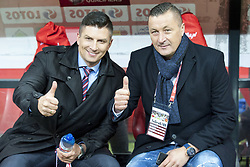 October 8, 2017 - Warsaw, Poland - TV commentators Mateusz Borek (L) and Tomasz Hajto after the FIFA World Cup 2018 Qualifying Round Group E match between Poland and Montenegro at National Stadium in Warsaw, Poland on October 8, 2017  (Credit Image: © Andrew Surma/NurPhoto via ZUMA Press)