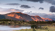 Mam na Gualain and Beinn na Caillich, two of the mountains on the north bank of Loch Leven, lit by the evening sun.
