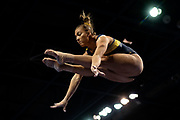 Olivia Karas of the Michigan Wolverines warms up on beam before the Elevate the Stage competition at the Huntington Center on February 23, 2019 in Toledo, Ohio.