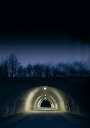 Empty Tunnel at night with lights
