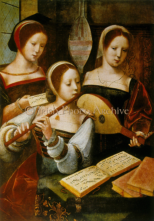 Lady Musicians': the two in front are playing flute and lute(?).  Anonymous 16th century. Oil on wood.