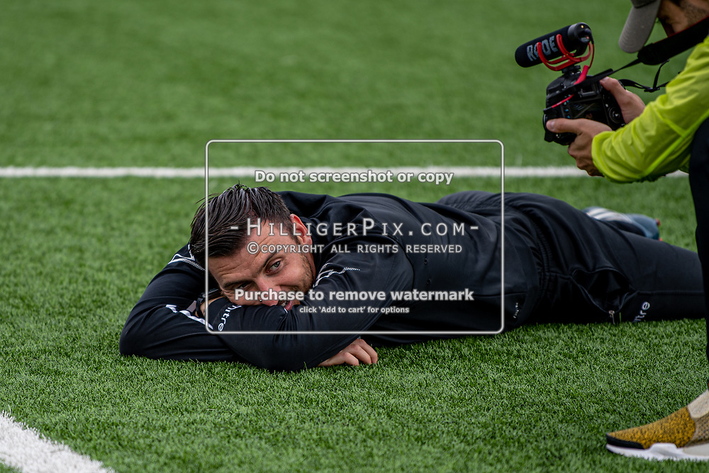 BROMLEY, UK - SEPTEMBER 22: Nathan White, 1st Team Coach of Cray Wanderers FC, contemplating how to hit the crossbar before the Emirates FA Cup Second Round Qualifier match between Cray Wanderers and Soham Town Rangers at Hayes Lane on September 22, 2019 in Bromley, UK. <br /> (Photo: Jon Hilliger)