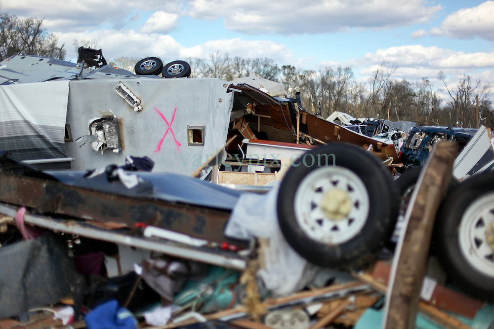 24 February 2016. Sugar Hill RV Park, Convent, Louisiana.<br /> Scenes of devastation following a deadly EF3 tornado touchdown. 2 confirmed dead. <br /> Flipped trailers and cars dot the landscape with people's personal effects dotting the landscape.<br /> Photo©; Charlie Varley/varleypix.com