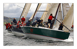 Yachting- The first days inshore racing  of the Bell Lawrie Scottish series 2003 at Tarbert Loch Fyne.  Light shifty winds dominated the racing...IRL2003 Gloves off in Class One leading  Azure and Nimmo into the top mark...Pics Marc Turner / PFM